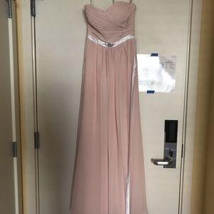 Bill Levkoff blush bridesmaid dress